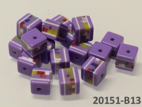 20151-B13 Korálky kostky mozaika FIALOVÉ bal.10ks