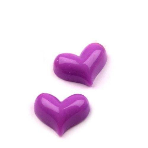 Srdce plastové - fialové - kabošon - 2 ks
