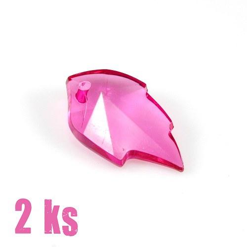 Růžový lístek - plastový přívěsek, 2 ks