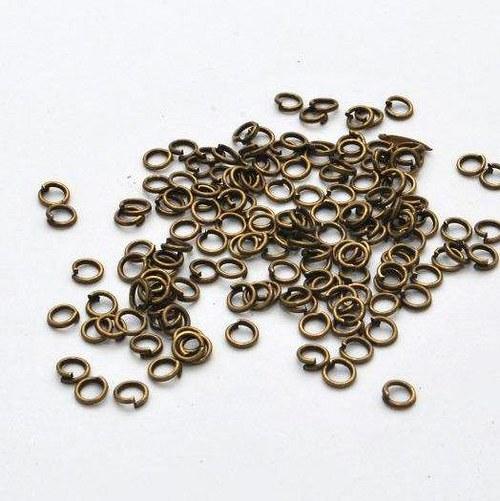 Spojovací kroužek 100 ks / 4 mm / antik bronz