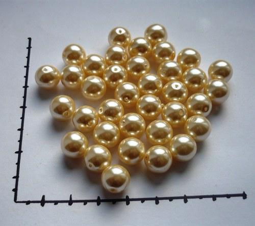 Perle skleněné voskované smetanové 10mm, 6ks