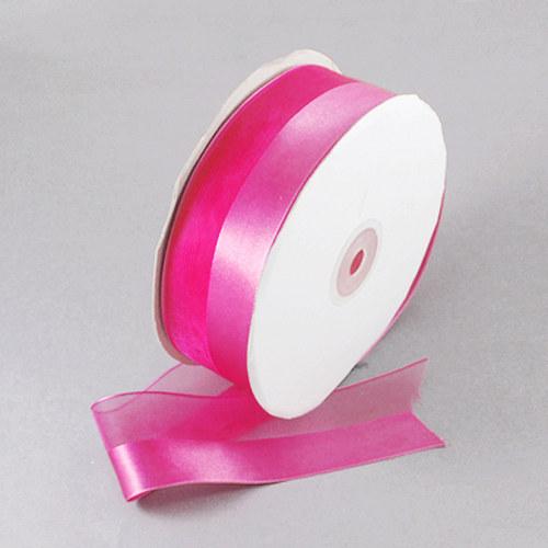 stuha šifon - atlas /25mm/ růžová tm./ 1m