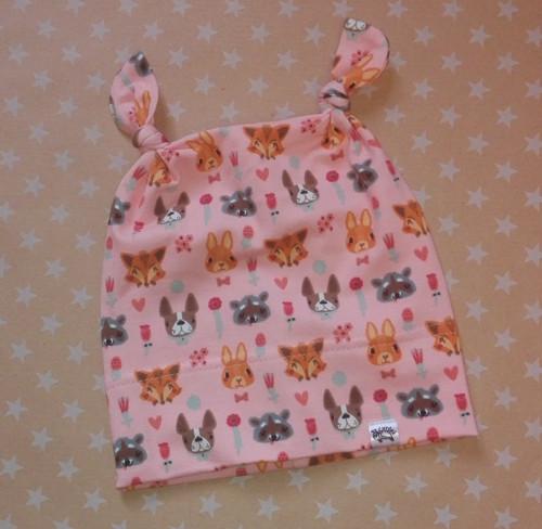 Bavlněná čepice s oušky zvířátka na růžové