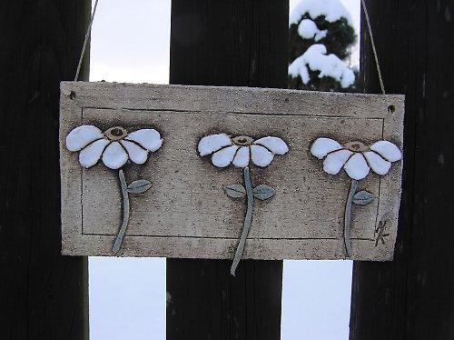 keramický obrázek - tři květy