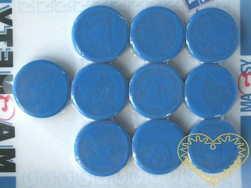 Magnet modrý - Ø 2 cm - sada 10 kusů