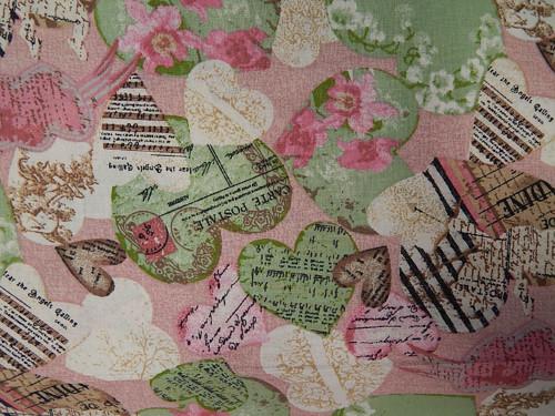 Látka, srdce, noty, květiny, písmo, růžovo-zelená