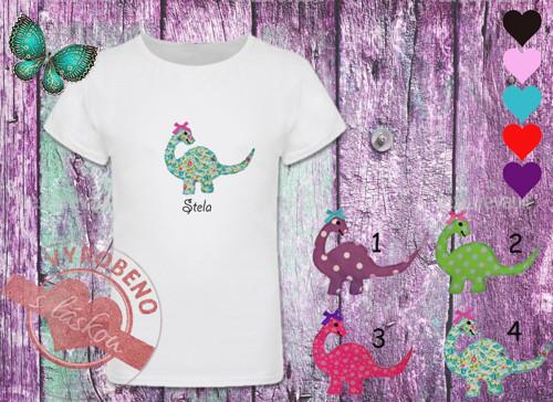Dívčí tričko s dinosauří holkou