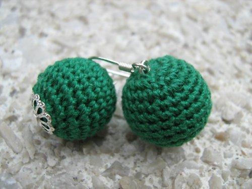 háčkované náušnice- zelené