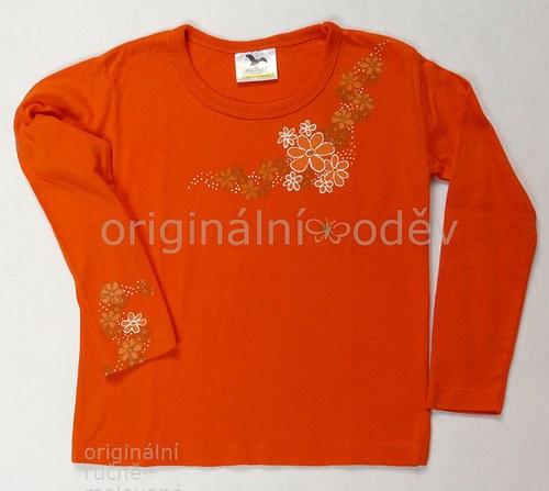 Malované tričko dětské-kytičky-oranžové - ZLEVNĚNO