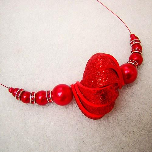 náhrdelník ulita třpytivá červená