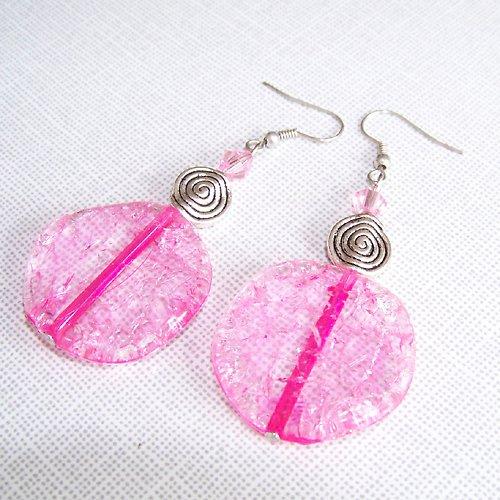 Náušnice růžové akrylky se spirálou