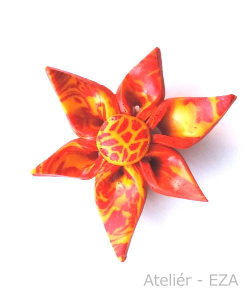 Originální brož - žíhaný květ