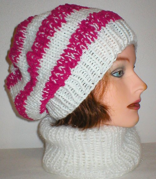 Růžovo - bílý baretek