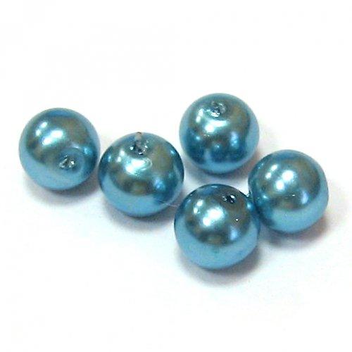 Perla vosková 6 mm - modrá - 10 ks