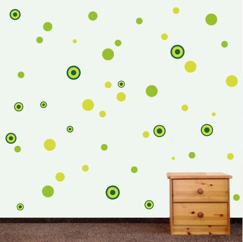 veselé puntíky - zelené - samolepka