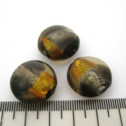 vinutá perla čočka 20mm, black diamond-topaz