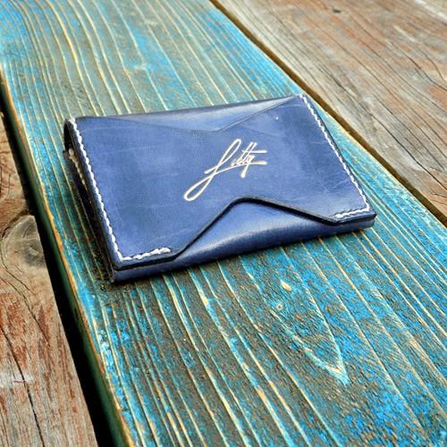 Malá kožená peněženka - mincovka, modro - bílá