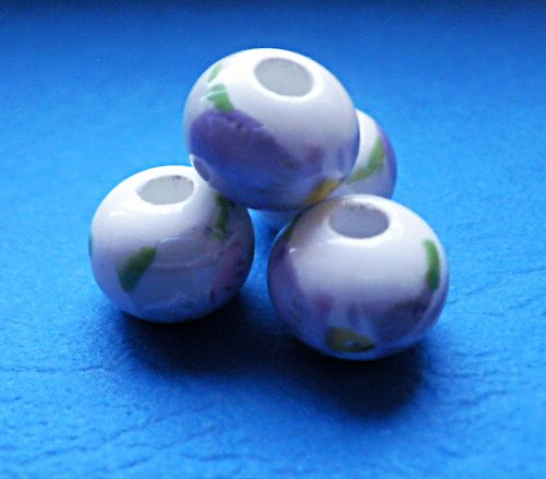 Porcelánové korálky s kosatci, 4ks