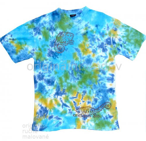 Batikované tričko pánské - chameleon