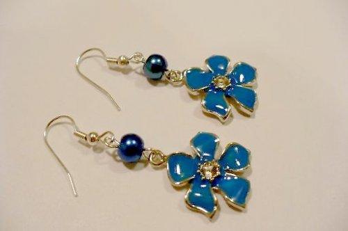 Modré smaltové kytičky II
