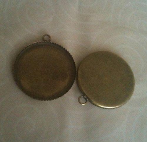 přívěsek lůžko kruhové/ bronz/ 25mm/ 1ks