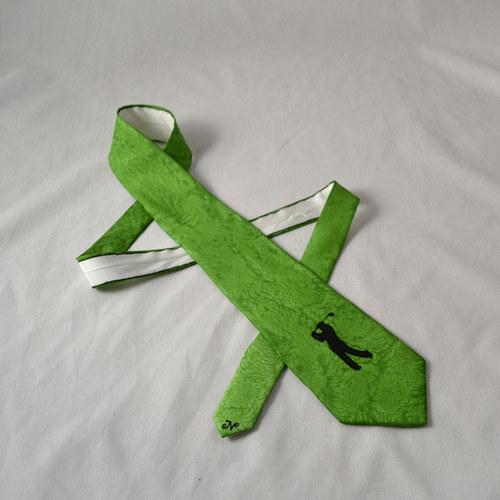 Hedvábná kravata s golfistkou zelená