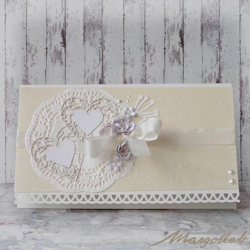 Dárková obálka svatební srdce béžová s květy