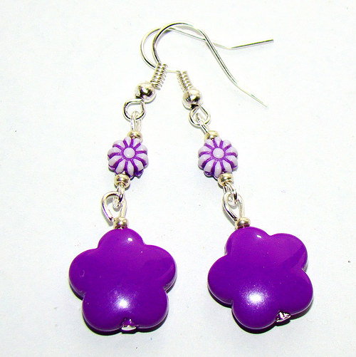 náušnice fialové kytičky