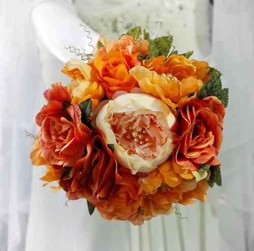 Shabby chic orange svatební kytice  + korsáž