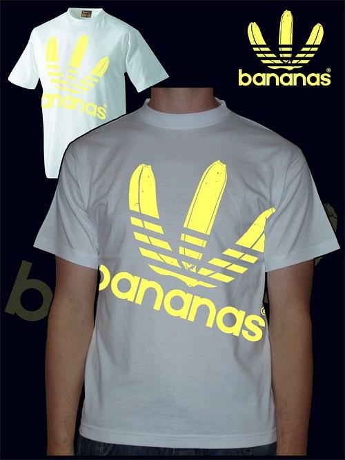 Pánské bílé tričko Bananas velký potisk
