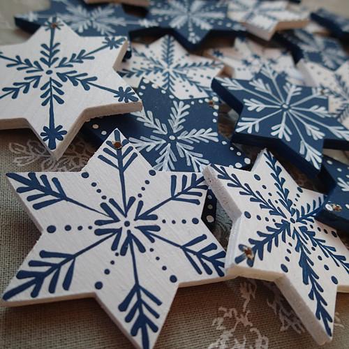Dřevěná hvězda - bílá s MODRÝM zdob. 10ks