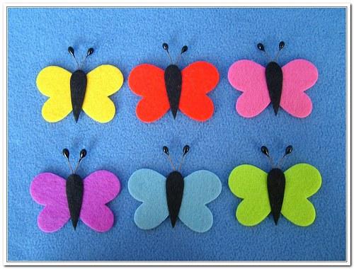 Motýl plstěný - sada 6 kusů