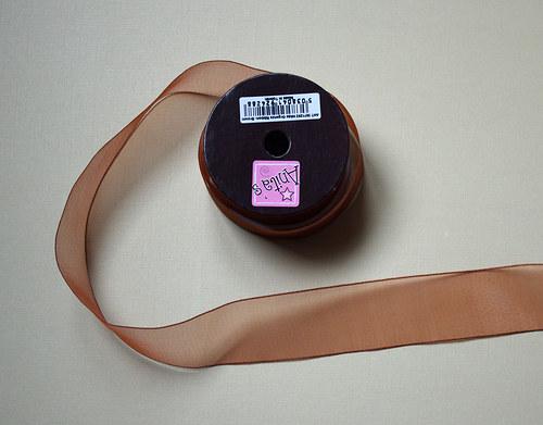 Stuha šifónová š. 2,5 cm - měděná