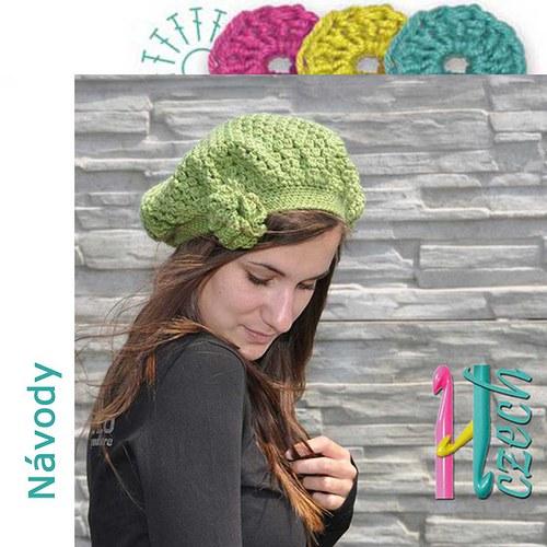 Háčkovaný baret zelený pecičkový