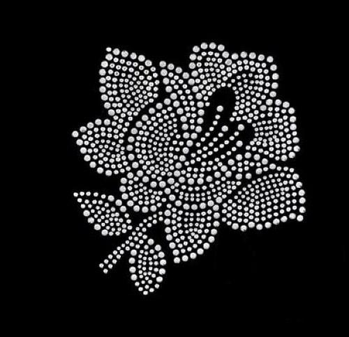 Růže - Štrasový nažehlovací motiv, kamínky