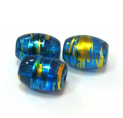 Sklo kovově žíhané - ovál modrý větší - 5 ks