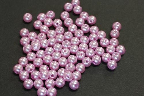 Růžové perličky plast,10gr.- 50ks
