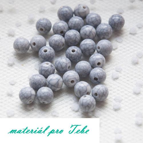 akrylové sivé korálky - 10 ks - 8 mm