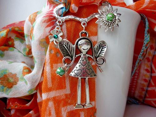 Andělka pro štěstí - brož