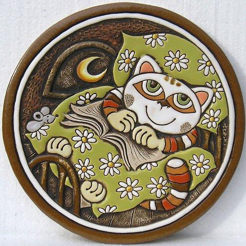 Keramický obrázek - Kočka v peřině K-132-Z