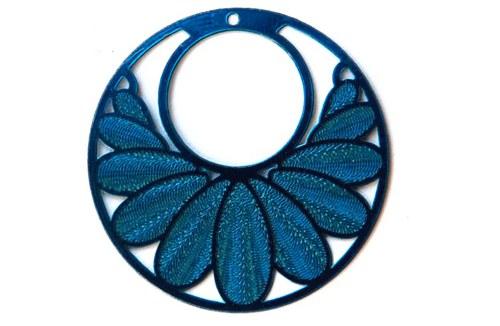 měděný přívěsek kolečko 3cm- světle modrý