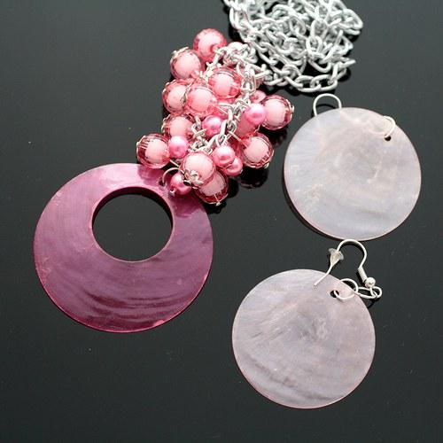 Růžová perleťová sada - náhrdelník+náušnice