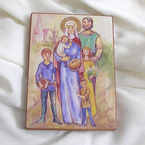 Obrázek na dřevě větší- svatá Zdislava