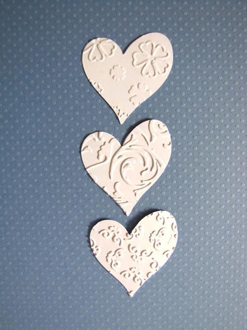 Srdce menší embos. - 3 ks - barva podle přání