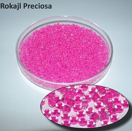 Rokajl Preciosa 8/0, I-C Crystal/Fuchsie Lined