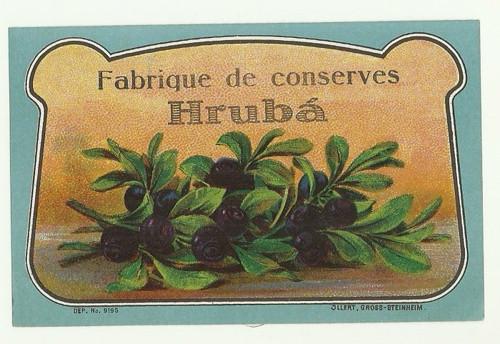 Etiketa od likéru Hrubá, borůvkový