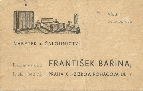 Reklamní kartička Bařina obchod s nábytkem