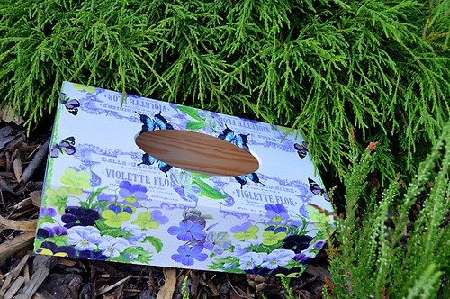 Krabička na čaj, šperkovnice - fialky a motýlci