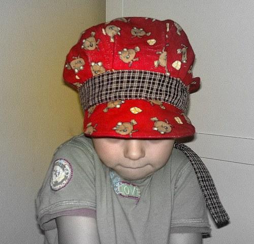 manžestrová čepice červená - sleva