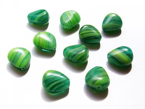 Zelené pruhované bochánky (mačkané korálky)